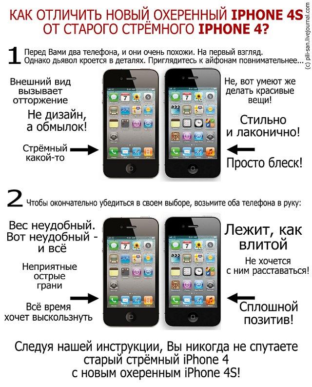 Как отличить новый iPhone 4S от старого iPhone 4?
